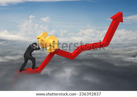 businessman pushing 3D dollar sign at starting point of red trend chart with natural cloudscape background - stock photo