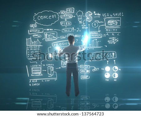 businessman pushing graph on interface - stock photo