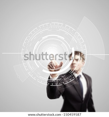 businessman pushing  interface in cyber space - stock photo