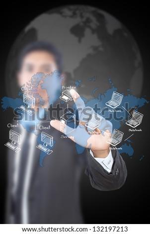Businessman pushing LAN Network diagram on the whiteboard. - stock photo