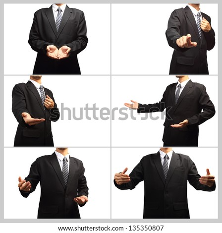 Businessman pushing on a touch screen interface, Collage template isolated on white background for design work - stock photo