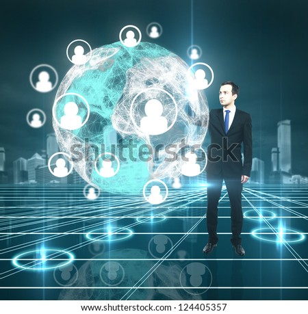businessman pushing to interface, social media concept - stock photo