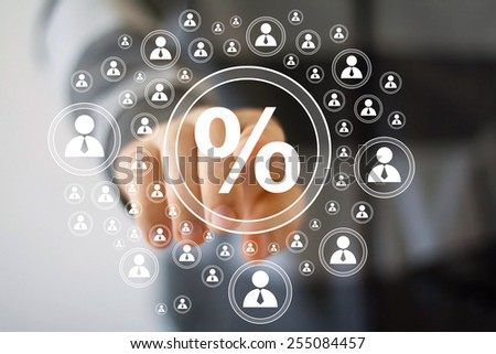Businessman pushing virtual button percent web - stock photo