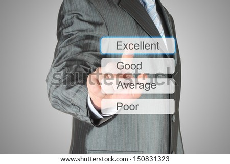 Businessman pushing virtual excellent button on grey background  - stock photo