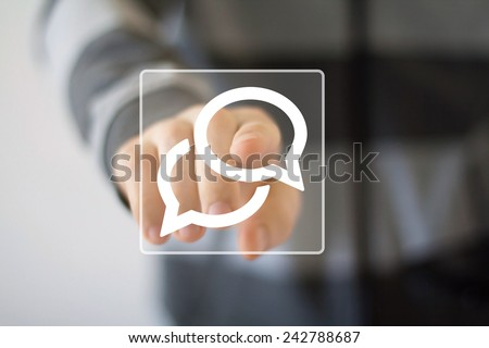 Businessman pushing virtual icon web button cloud sign - stock photo
