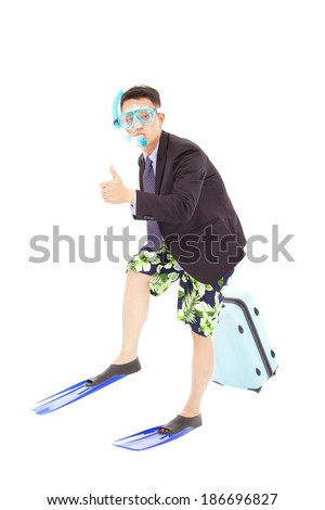 businessman put on  scuba gear and thumb up - stock photo