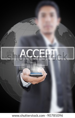 Businessman putting mobile with accept word. - stock photo