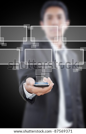 Businessman putting touch screen mobile phone with button. - stock photo