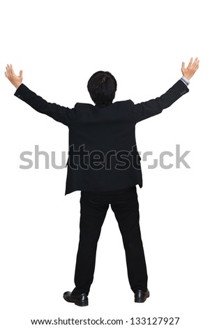 Businessman raising hand, Isolated over white with clipping path - stock photo
