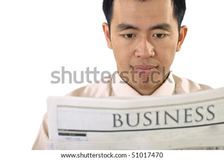 Businessman read newspaper of business on white background. - stock photo