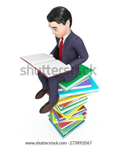 Businessman Reading Books Indicating Businessmen Train And Study - stock photo