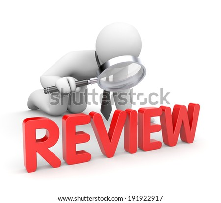 Businessman reads review - stock photo