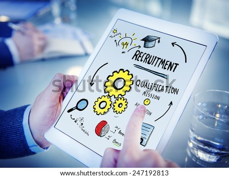 Businessman Recruitment Digital Devices Searching Concept - stock photo