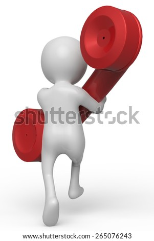 businessman red telephone back view - stock photo