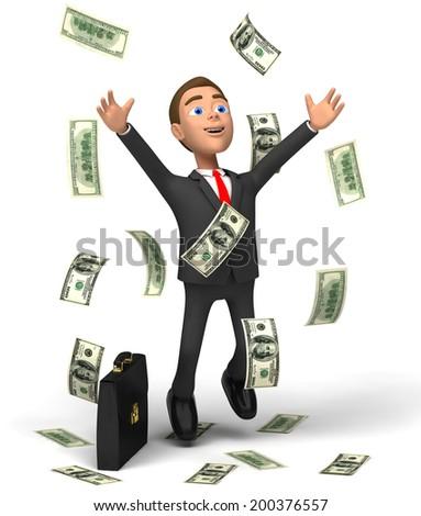 Businessman rejoices unexpected profit - stock photo