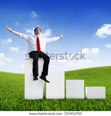 Businessman Relaxation Green Growth Success Achievement Concept - stock photo