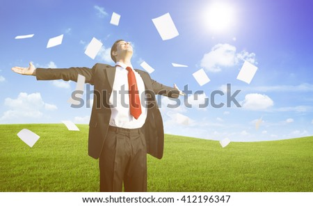 Businessman Relaxation on the Hill Concept - stock photo