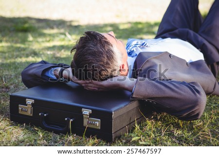 Businessman relaxing in the park on a sunny day - stock photo