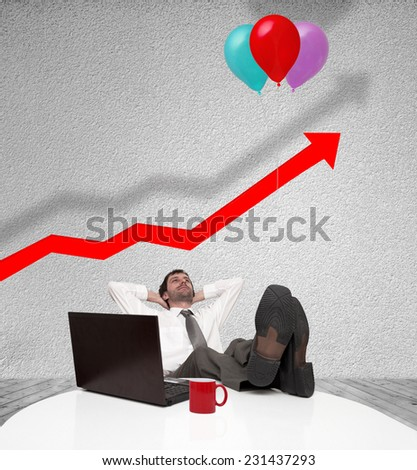 Businessman resting and rising graph with balloons - stock photo