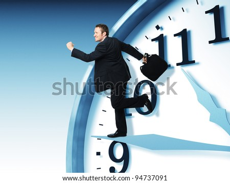 businessman run on 3d clock - stock photo