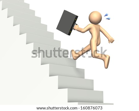 Businessman run up the stairs. isolated image. - stock photo