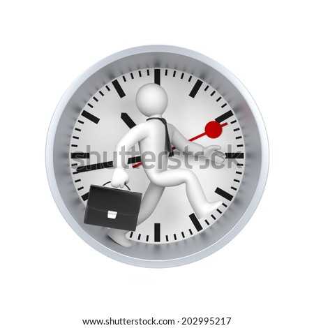 Businessman running against time - stock photo