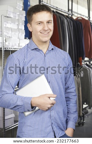 Businessman Running On Line Fashion Business With Digital Tablet - stock photo