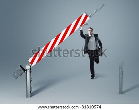 businessman running to pass the 3d bar - stock photo