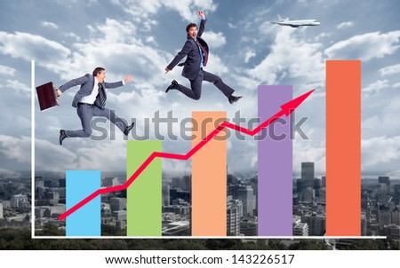 Businessman running to the goal. Competition concept in business. - stock photo