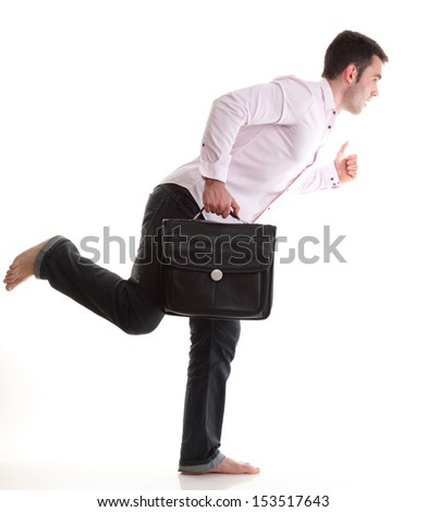 Businessman running with a briefcase, isolated on white background - stock photo