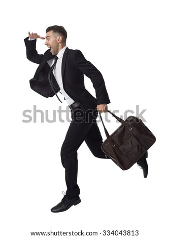 Businessman running with his bag Full Length Portrait isolated on White Background - stock photo