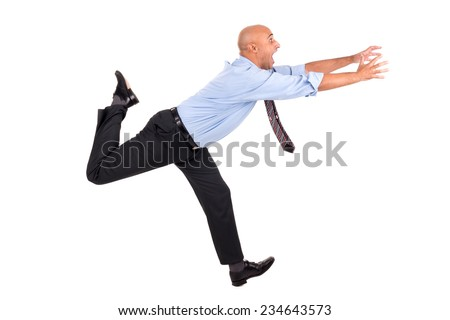 Businessman running with raised arms chasing, isolated in white - stock photo