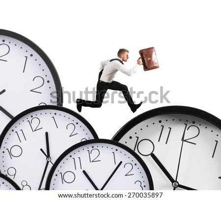 Businessman runs overload of work always late - stock photo