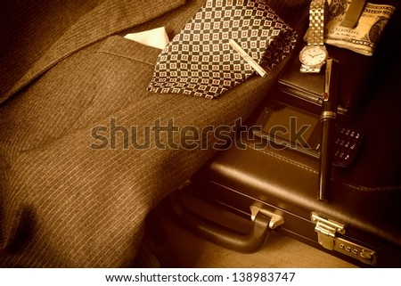 Businessman's accessories. Sepia image. - stock photo