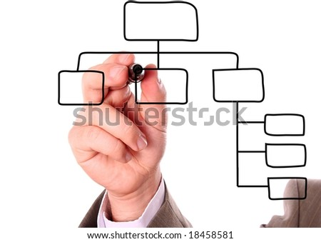 businessman's hand drawing an organization chart on a white board - stock photo