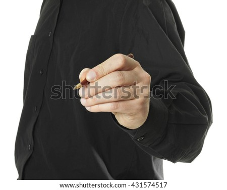 Businessman's Hand Holding a Pen - stock photo