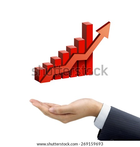 businessman's hand holding bar graph with rising arrow over white background - stock photo