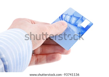 Businessman's hand holding blue credit cards. Isolated on white background - stock photo
