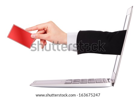 Businessman's hand holding business card with laptop isolated on white background - stock photo