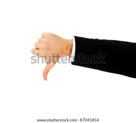 businessman's hand shows thumb down on a white background - stock photo
