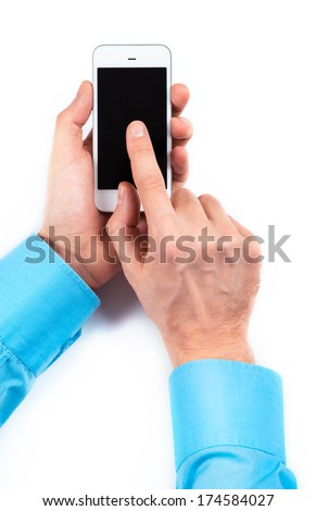 Businessman's hands using smartphone on white background - stock photo