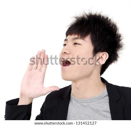 businessman say, talking, hold hand near open mouth gesture - stock photo