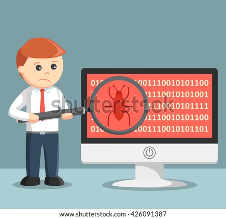 Businessman scanning malware on his computer - stock photo
