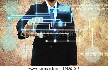 businessman scanning of a finger on Grunge background - stock photo