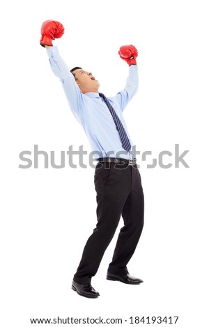 businessman screaming to shout after winning  - stock photo