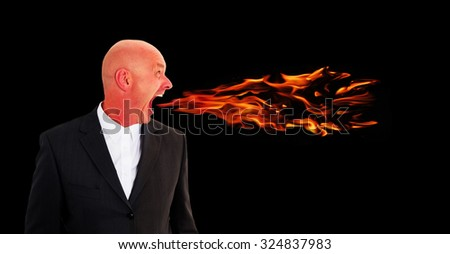 businessman screaming with flames coming out of his mouth - stock photo