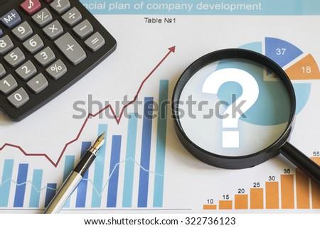 Businessman search loupe magnifier question web chart - stock photo