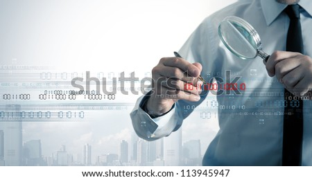 Businessman search the virus in a binary code - stock photo