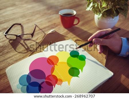 Businessman Searching Speech Bubbles Communication Concept - stock photo