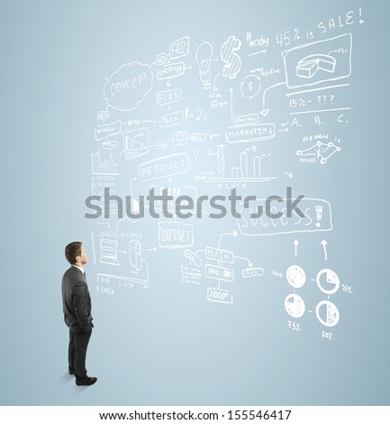 businessman seeing at  concept above him - stock photo